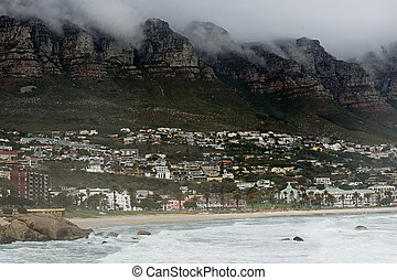 Foggy cloudy morning of the coastal area of Cape Town. - ...