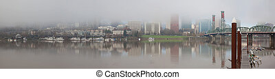 Foggy Day along Portland Waterfront Panorama