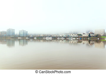 Foggy Day on Portland Downtown Waterfront