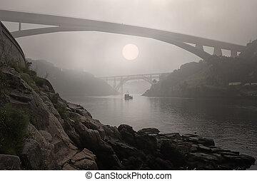 Foggy Douro river