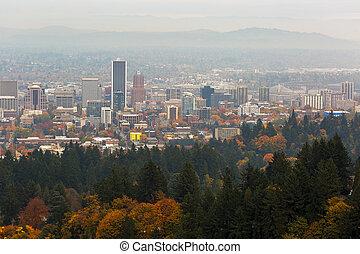 Foggy Fall Day over Downtown Portland Oregon
