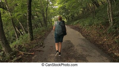 Walking on mountain road in Japan, narrow forest road of Mount Nantai