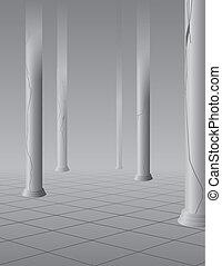 Foggy hall with columns