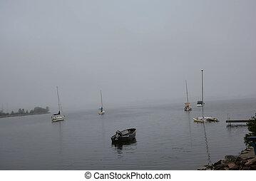 Foggy Lake and Boats
