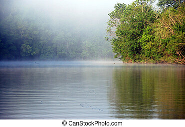 early morning mist over a placid lake
