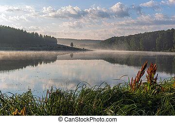 foggy lakeside at sunrise in european summer