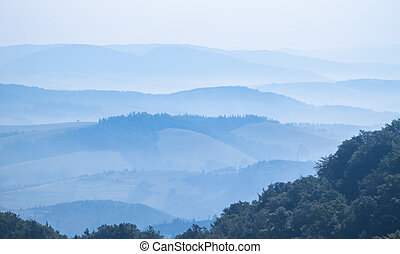 Foggy landscape in the Ukrainian Carpathians
