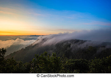 foggy landscape morning beautiful sunrise mist cover mountain background