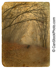 Foggy landscape. Old postcard. - Foggy landscape. Old...