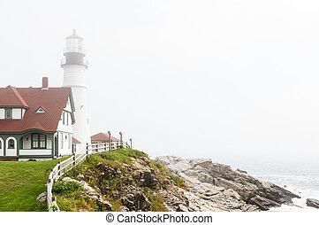 Foggy Lighthouse on Hill