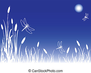 Dragonflies in the sky on a foggy full moon night over a marsh with cattails and tall grass, great nature background with copy space.