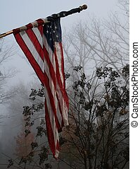 Foggy morning - American Flag - a American flag wrapped...