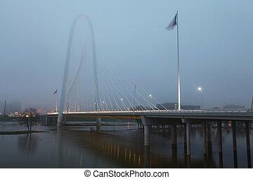 Foggy morning bridge into Dallas