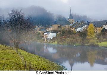 Foggy morning in Belgium - Fog hanging over the Semois river...