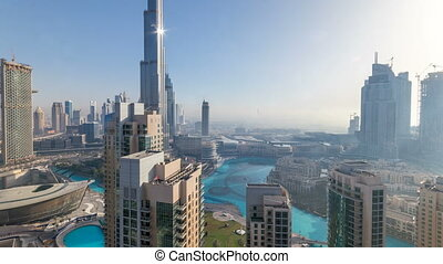 Foggy morning in downtown of Dubai timelapse.