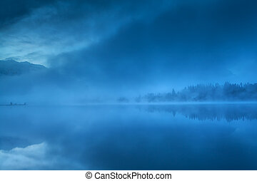 foggy morning on Barmsee lake