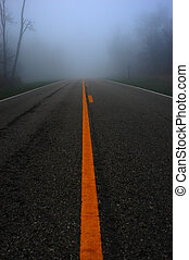 foggy mountain road - spooky dark foggy country road