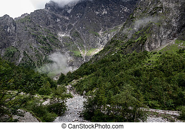 Foggy Mountain View - Green and Grey Mountain Side with...