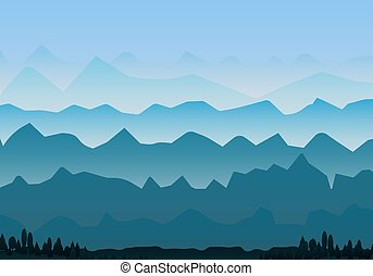 Foggy mountains landscape