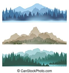 Foggy mountains landscape set vector illustration. Smokey rocky panorama with mountains skyline and pine tree forest silhouettes