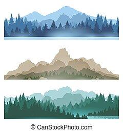 Foggy mountains landscape set vector illustration. Smokey...