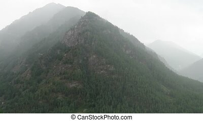 Foggy mountains scenic view. Altai Mountains, Russia