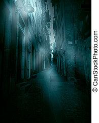 Foggy narrow street - Old European narrow street in a foggy...
