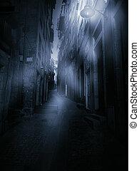 Foggy narrow street