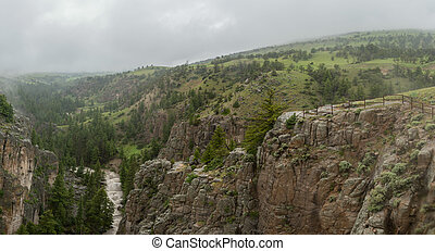 Foggy overlook in Green mountains wilderness in Wyoming