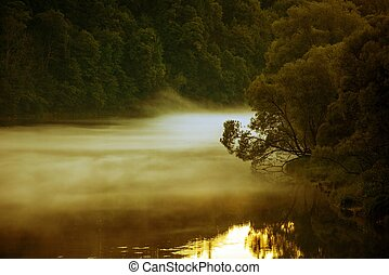 Foggy River at Dusk