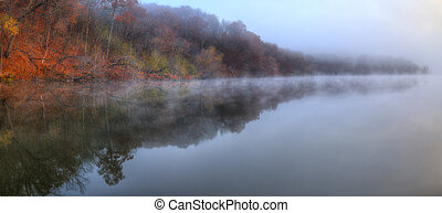 Foggy River Bank Foliage in HDR