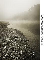 Foggy River Bottom Morning - A foggy morning along the rocky...