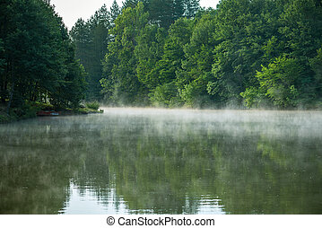 Foggy river in the morning.