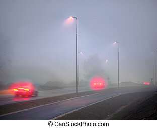 Foggy road in evening