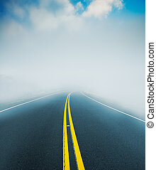 Foggy Road - Road into the Fog, Mysterious Landscape