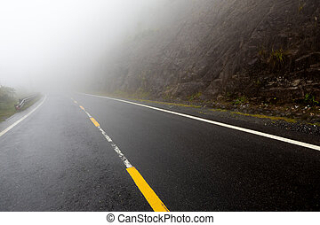 foggy road with yellow markings