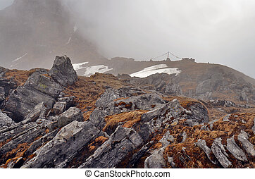 Foggy Rocky Mountain Landscape in Himalaya. Rocks and wet ...
