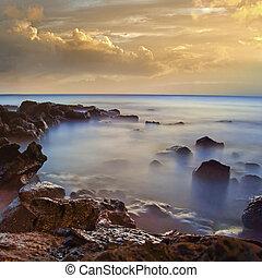Foggy sea rocks with mist in the ocean - Beautiful ocean...