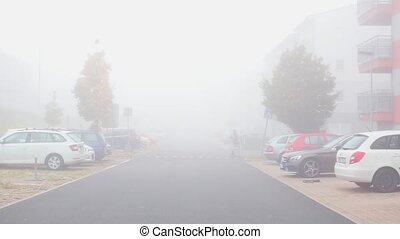 foggy street in the courtyard, cars parked on the sides