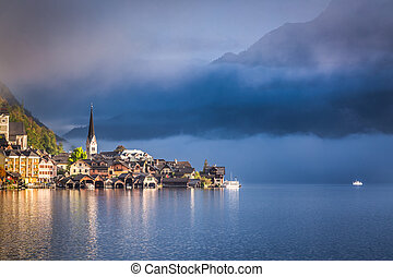 Foggy sunrise in autumn Hallstatt