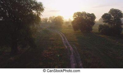 Foggy sunrise in countryside. Aerial drone shot. - Foggy...