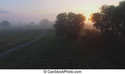 Foggy sunrise in countryside. Aerial drone shot.