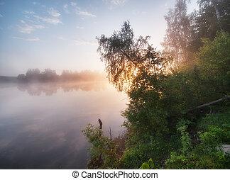 Foggy sunrise on a lake