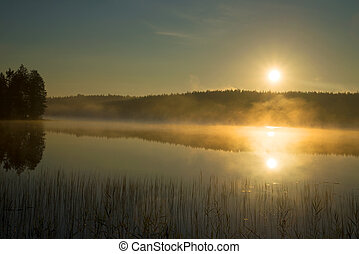 Foggy sunrise on the forest lake. August morning. Finland