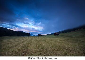 foggy sunrise over alpine meadow