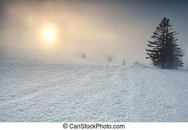 foggy sunrise over mountain in winter