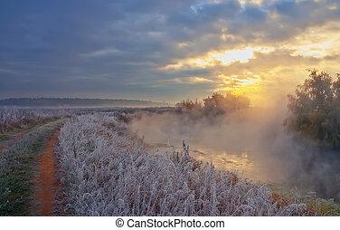 Foggy Sunrise Over The River