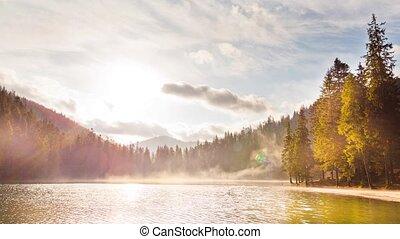 Foggy sunrise time lapse al lake - Zeitraffer technic time...