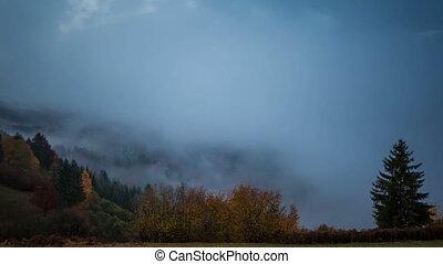 Foggy sunrise time lapse
