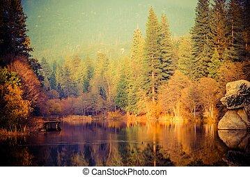 Foggy Sunset at the Lake